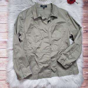 Talbots Tan Bomber Jacket Button Up